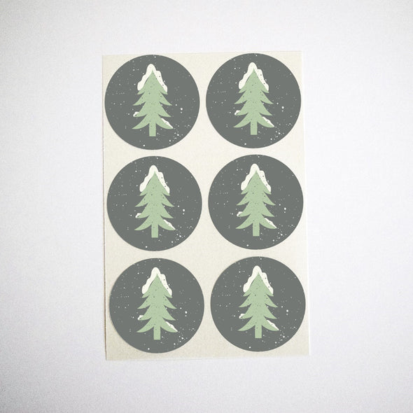 Snowy Christmas Trees Stickers