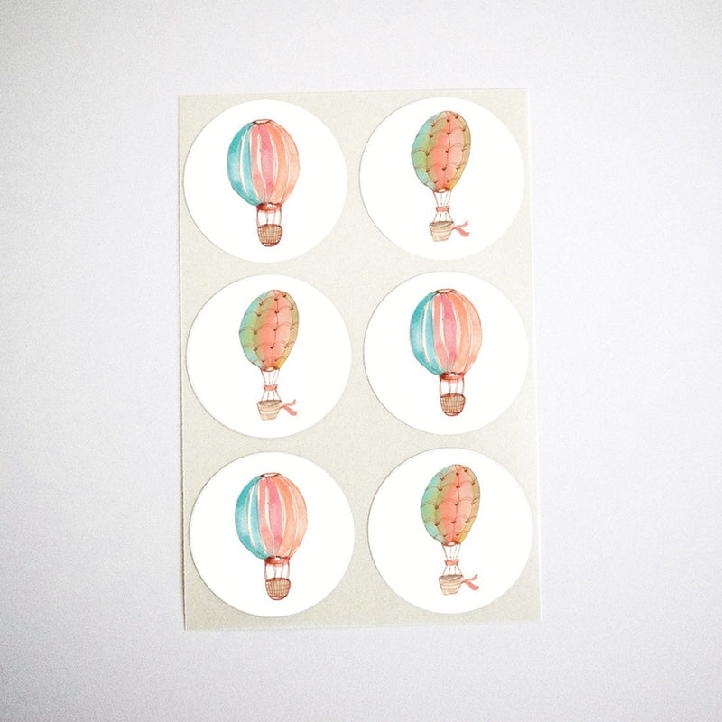 Watercolor Hot Air Balloon Stickers