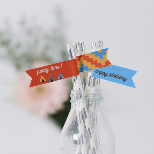 Southwestern Teepee Kids Party Straw Flags Printable