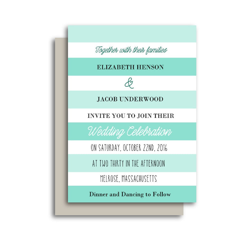 Turquoise Stripes Beach Wedding Invitation