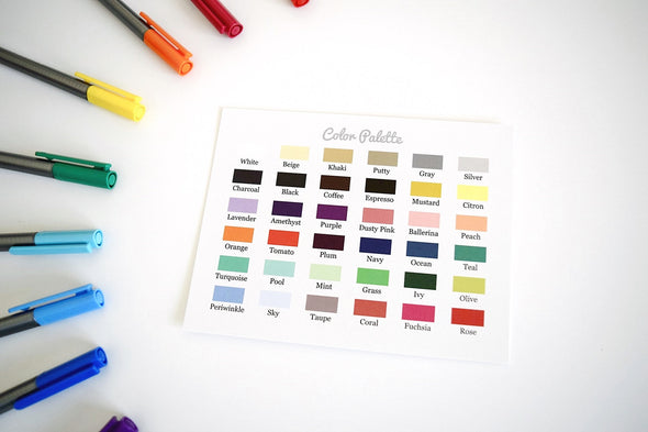 Color Chart for Custom Heart Stickers