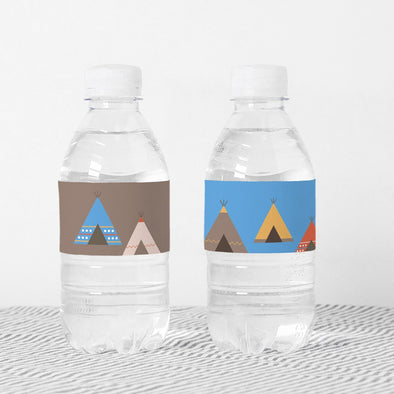 Southwestern Teepee Kids Party Bottle Wrappers Printable