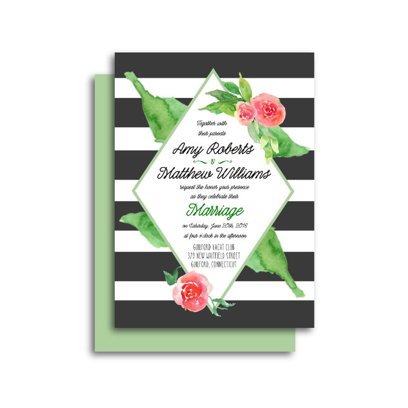 Floral Diamond Frame Wedding Invitation Suite