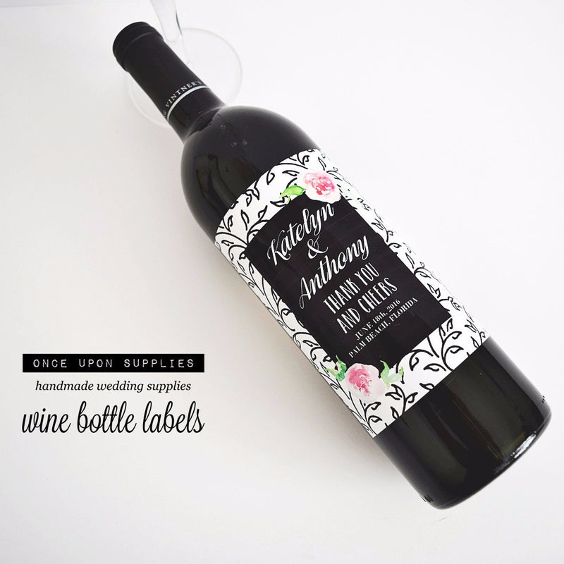 Waterproof Wine Bottle Labels. Pink and Black Florals