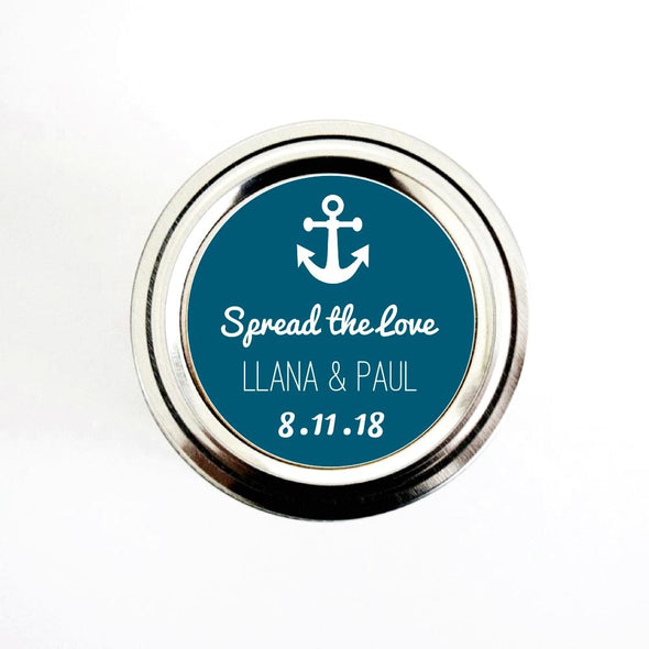 Anchor Wedding Stickers for Jam Favors, Spread the Love Canning Labels for Nautical Wedding