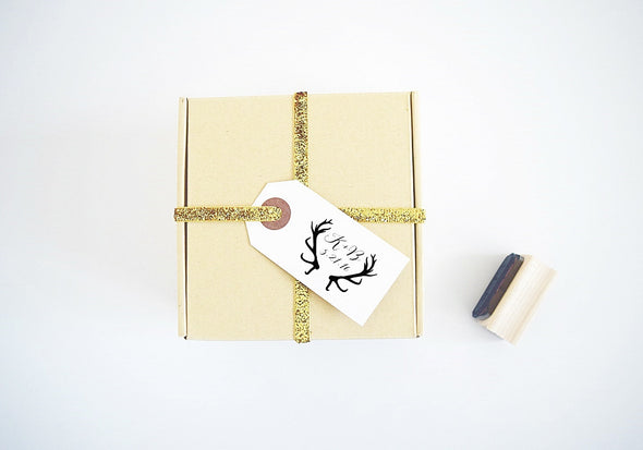 Wedding Stamp - Antlers Design with Custom Initials and Date