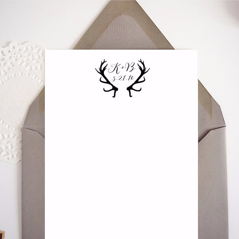 Custom Rustic Antlers Wedding Stamp with Initials and Date