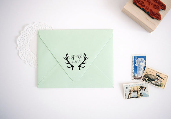 Rustic Custom Wedding Stamp - with Antlers Design