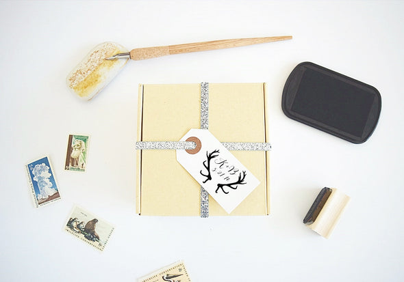 Custom Wedding Stamp - Antlers Design