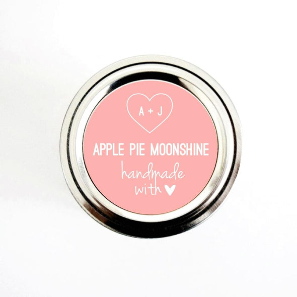 Custom Wedding Favor Canning Labels with Heart & Initials, Handmade with Love