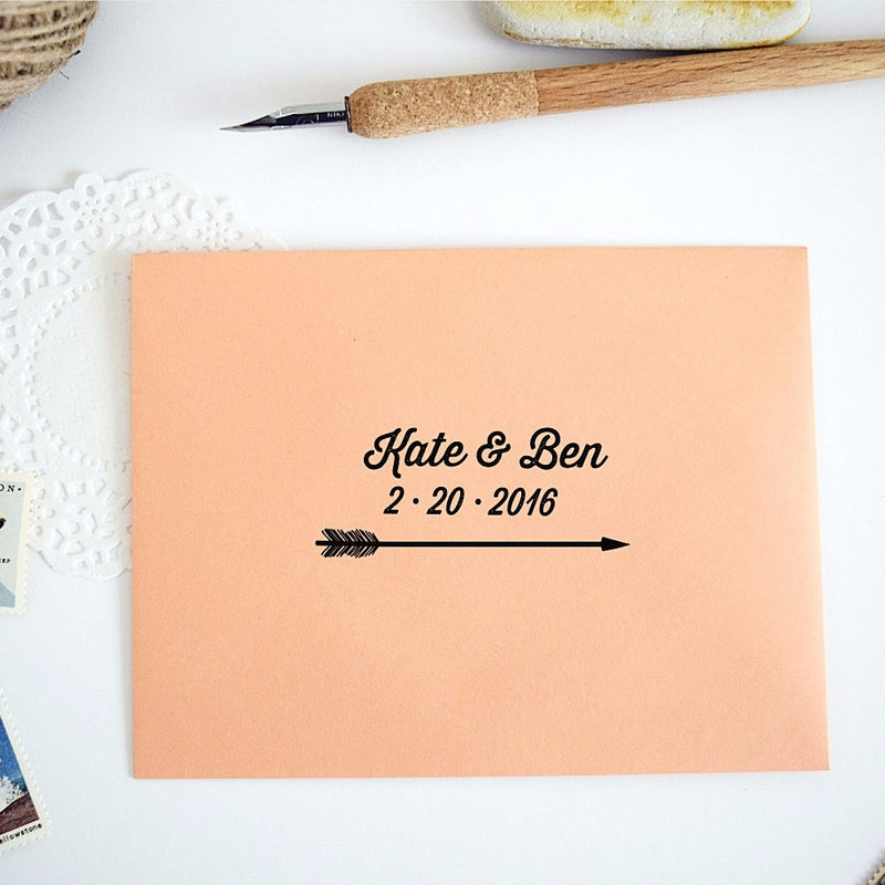 Custom Rubber Stamp - Arrow Wedding Save the Date Stamp