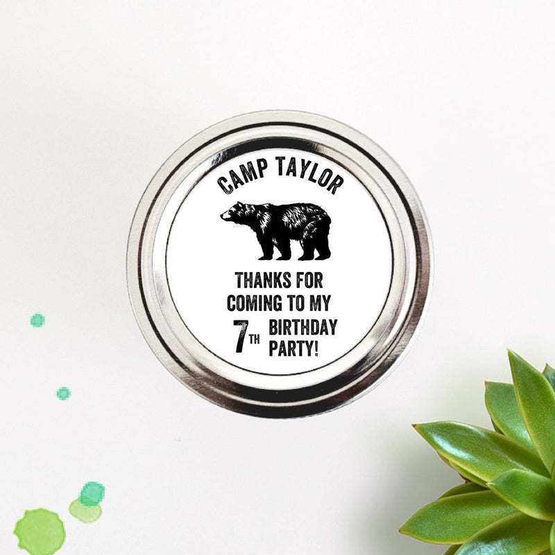 Bear Camping Theme Birthday Party Favor Labels Seals Stickers - Once Upon Supplies