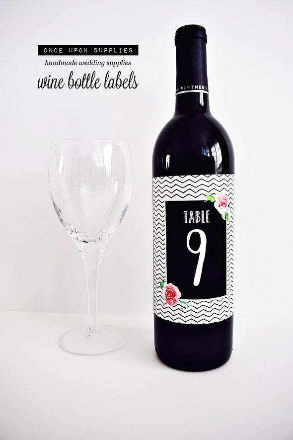 black and white zig zag chevron stripes table number wine labels