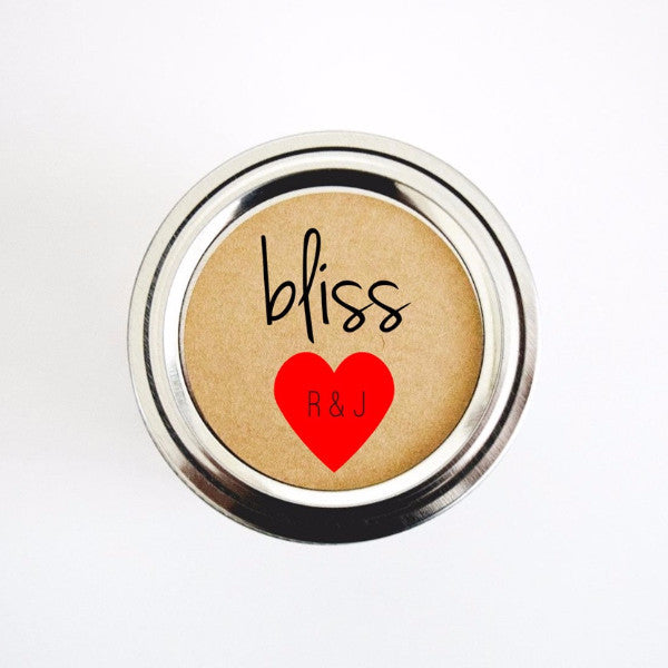 bliss mason jar wedding stickers - with mini hearts and initials - Once Upon Supplies