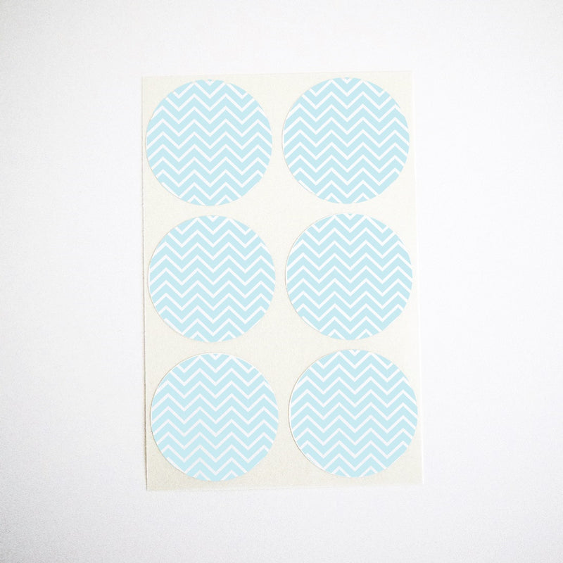 light blue chevron stickers envelope seals party favor labels