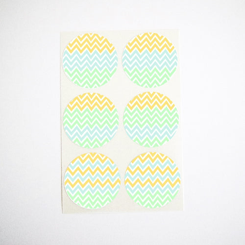 blue green yellow chevron stripes stickers - baby shower favor seals
