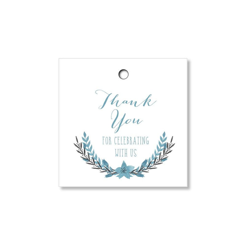 Blue Watercolor Florals Wedding Tags for Favors and Gifts - Once Upon Supplies