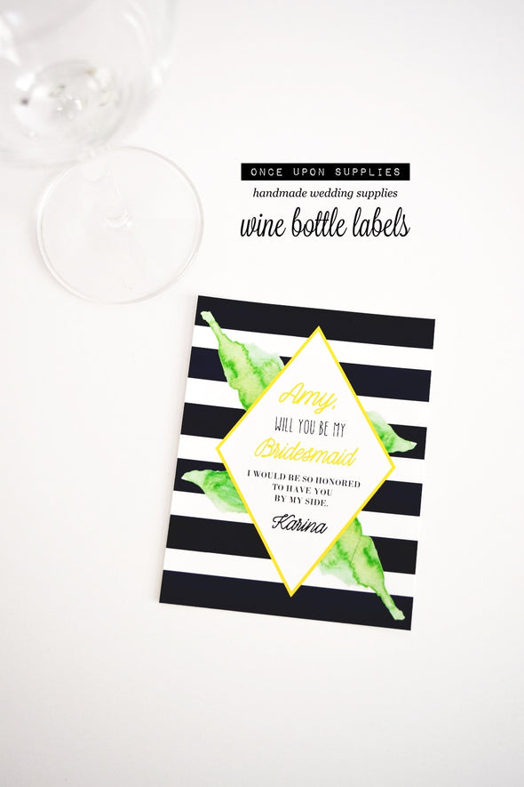 bridesmaid proposal wine gift labels
