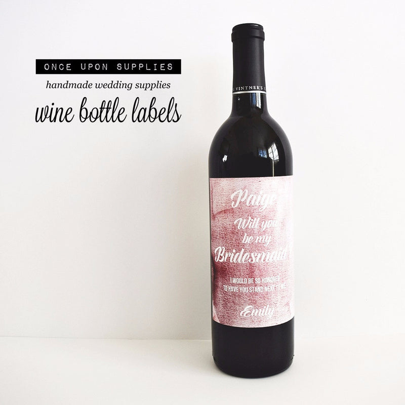 briddesmaid proposal wine labels pink ombre watercolor