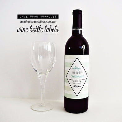 Mint Stripes Bridesmaid Gift Wine Labels