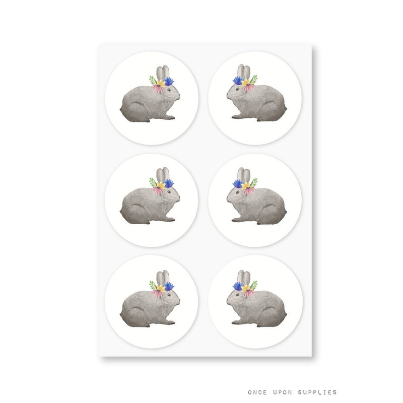 Bunnies Easter Party Round Stickers