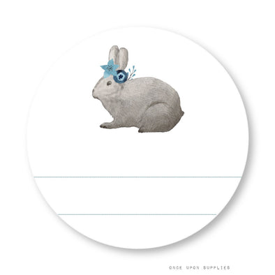 Bunnies Party Labels with Blank Space