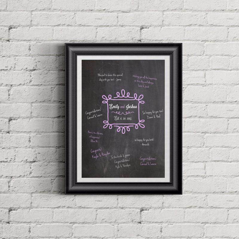 Custom Chalkboard Wedding Guestbook Print