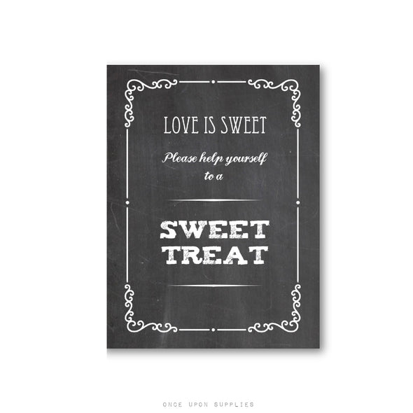 Chalkboard Wedding Favors Candy Bar Sign, Printed or Downloadable File - Once Upon Supplies
