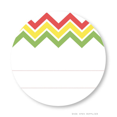 Fiesta Chevron Stripes Labels with Blank Space