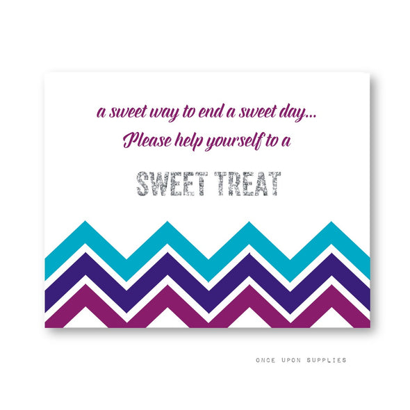 Midnight Chevron Stripes Birthday Party Favor Station Sign