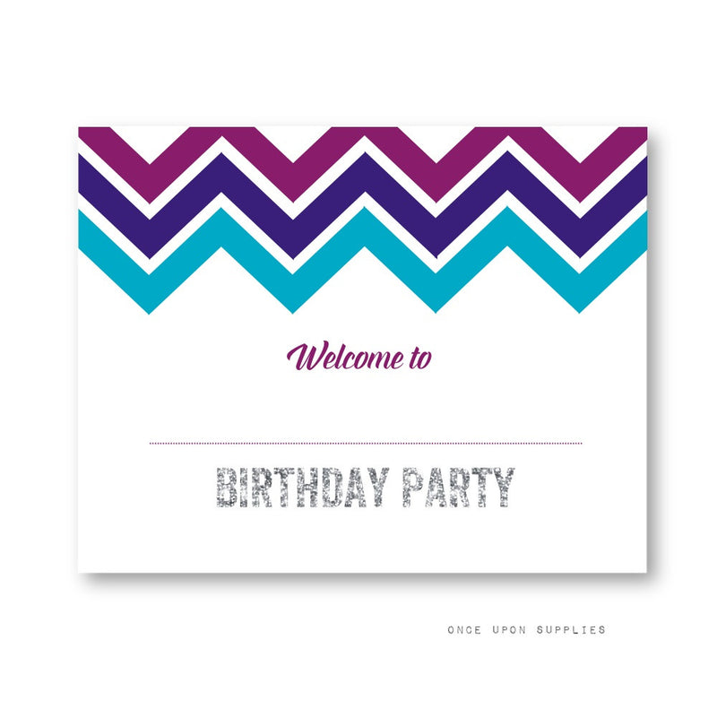 Midnight Chevron Stripes Birthday Party Decoration Welcome Sign