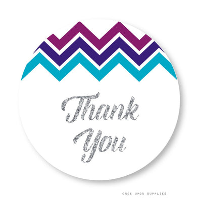 Midnight Chevron Stripes Thank You Stickers