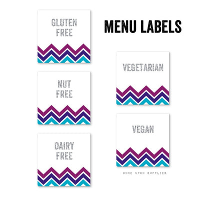 Midnight Chevron Stripes Birthday Party Food Allergy Labels