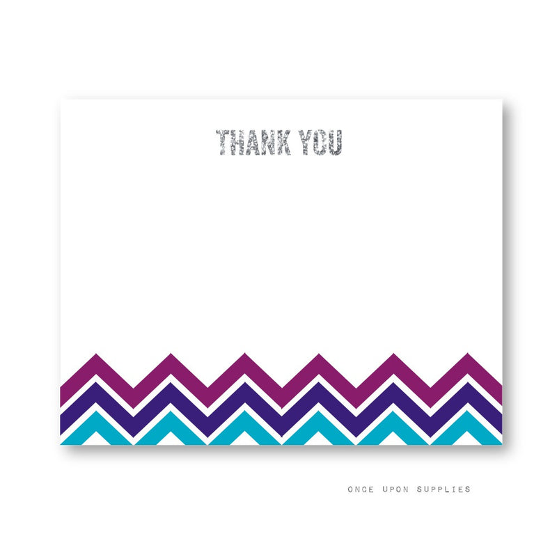 Midnight Chevron Stripes Thank You Cards