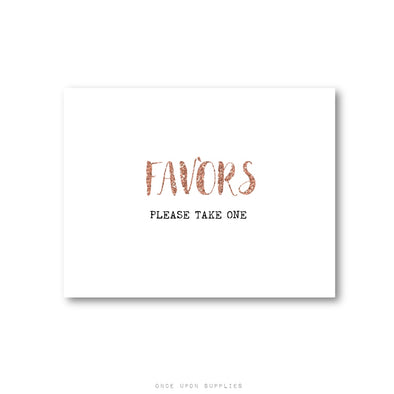 Copper Glitter Favors Please Take One Wedding Sign, Printed or Downloadable File - Once Upon Supplies