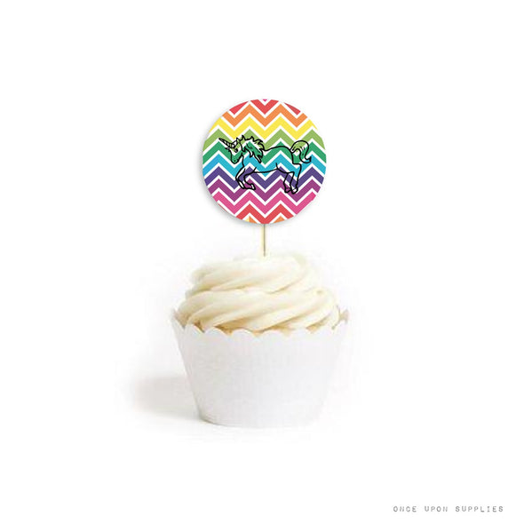 Unicorn Stickers | Rainbow Unicorn Cupcake Toppers | Once Upon Supplies