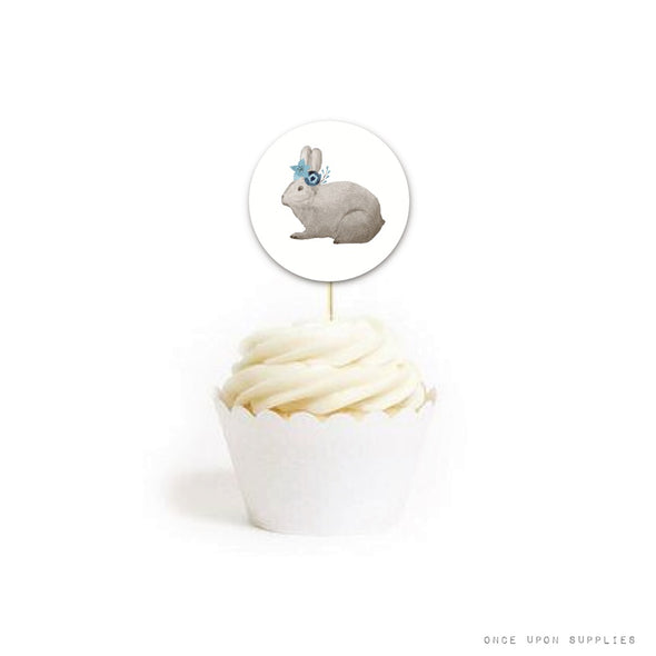 bunny cupcake topper | blue bunnies birthday party collection