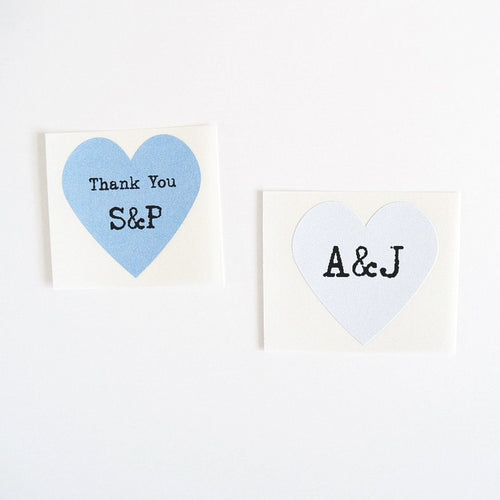 Heart Stickers with Custom Initials