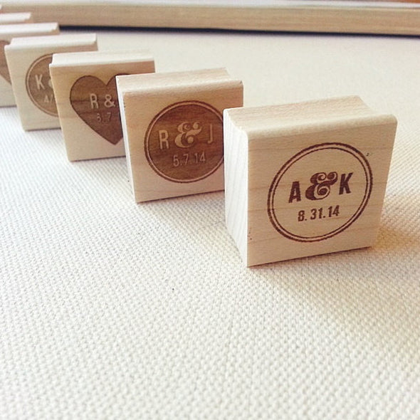 Wedding Stamp. Personalized with Initials and Date. Choose Your Design | Once Upon Supplies
