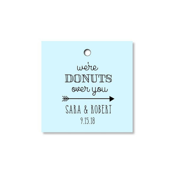 We Are Donuts Over You Tags for Wedding, Bridal Shower or Party Favors - Blue - Once Upon Supplies