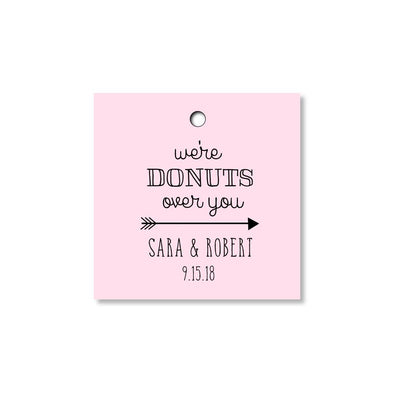 We Are Donuts Over You Tags for Wedding, Bridal Shower or Party Favors - Pink - Once Upon Supplies