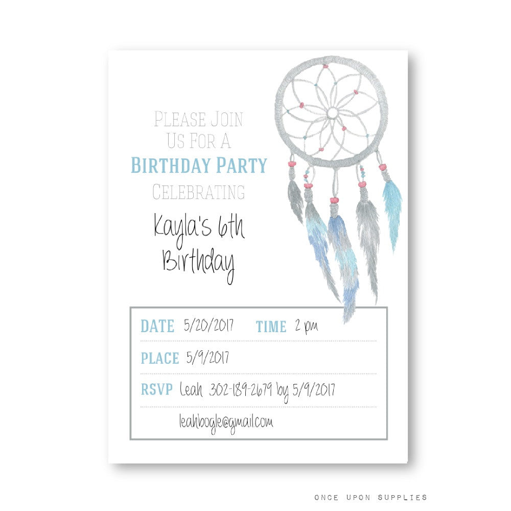 Dreamcatcher and Feathers Birthday Party Invitation