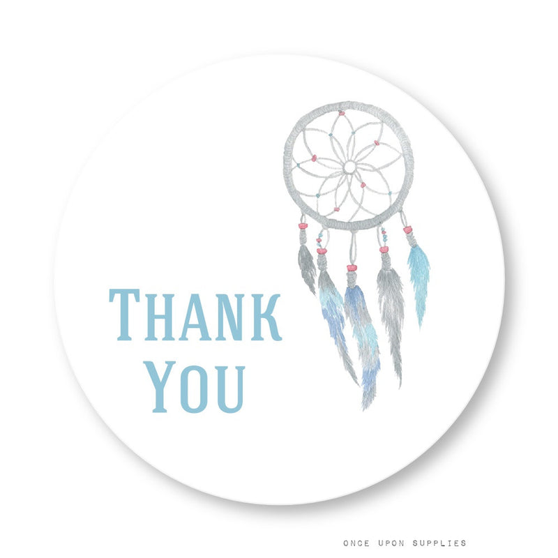 Dreamcatcher and Feathers Thank You Stickers