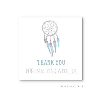 Dreamcatcher and Feathers Birthday Party Favor Stickers Square Shape