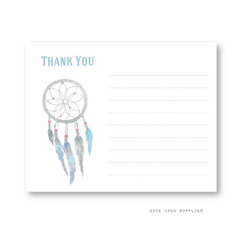 Dreamcatcher and Feathers Thank You Cards