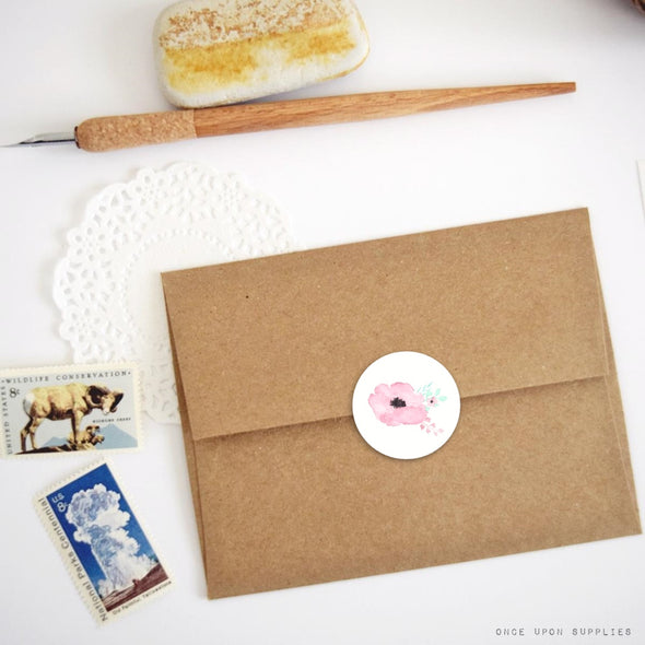 secret garden pink flower envelope seals