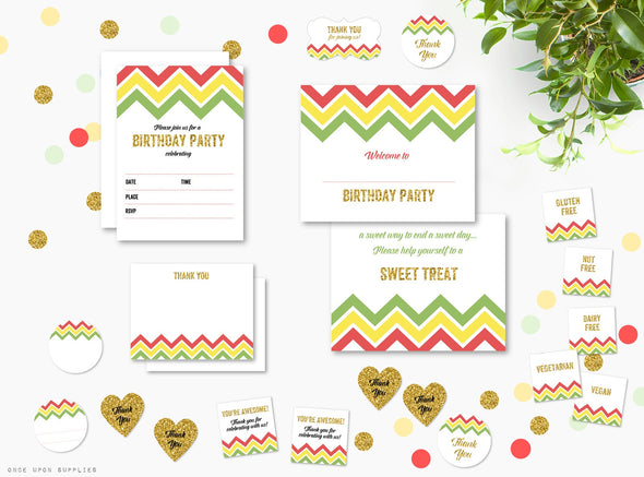 Fiesta Chevron Stripes Birthday Party Invitation