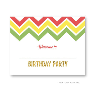 Fiesta Chevron Stripes Birthday Party Decoration Welcome Sign