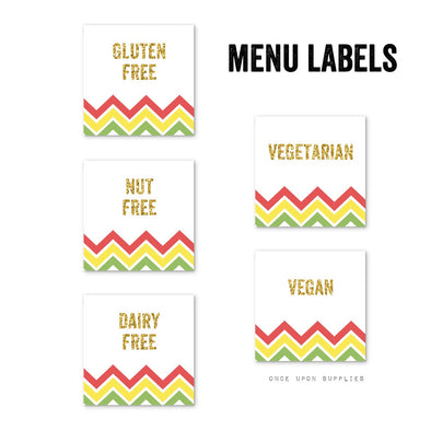Fiesta Chevron Stripes Birthday Party Food Allergy Labels