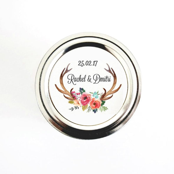 Watercolor Floral Antlers Wedding Favor Stickers Labels